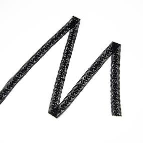 Кружево лен 2201 Черный 2,3 см 1 метр фото