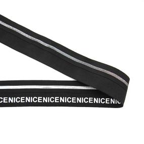 Резинка декоративная №22 черная серебро полоса белая надпись NICE 4см фото
