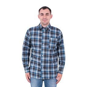 Рубашка мужская рукав длинный бязь набивная 48-50 Клетка Синяя фото
