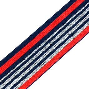 Резинка декоративная №20 красный синий полосы серебро люрекс 3,5см уп 10 м фото