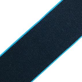 Резинка декоративная №17 черный кант бирюза 4см уп 10 м фото