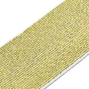 Резинка декоративная 2285 золото с люрексом 4см уп 10 м фото