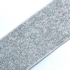 Резинка декоративная 2284 серебро с люрексом 4см уп 10 м фото