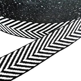 Тесьма черно белая узкие полосы 2,5см 1 метр уп 10 м фото