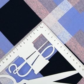Ткань на отрез кулирка R5155-V3 Клетка цвет голубой фото