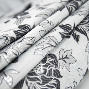 Портьерная ткань с люрексом 150 см на отрез H627 цвет 8 серый цветы фото
