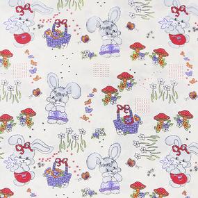 Мерный лоскут бязь ГОСТ детская 150 см 1304/1 Лесная сказка цвет бежевый 5.9 м фото