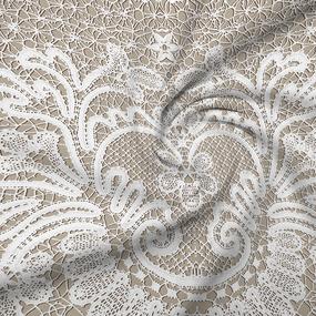 Ткань на отрез бязь Премиум 220 см 11186/1 Ажур цвет бежевый фото