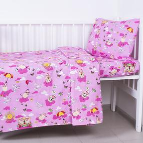 Постельное белье в детскую кроватку из бязи 317/2 Овечки розовый с простыней на резинке фото