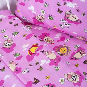 Постельное белье в детскую кроватку 317/2 Овечки розовый с простыней на резинке фото