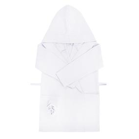Халат детский вафельный с капюшоном белый 110-116 см фото