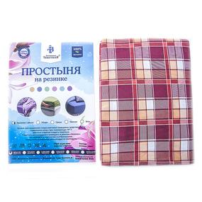 Простыня трикотажная на резинке Премиум цвет клетка красная 60/120/12 см фото