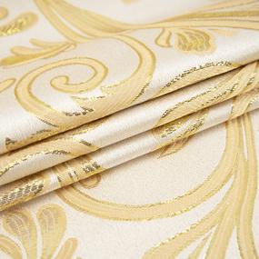 Портьерная ткань с люрексом 150 см на отрез 5222 Вензель цвет золото фото