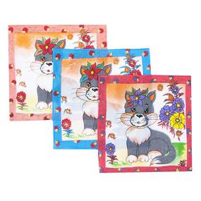 Платки носовые детские 20х20 Киса (12 шт) фото