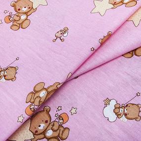 Бязь 120 гр/м2 детская 150 см 7176 Мишка со звездой розовый фото