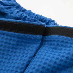 Вафельная накидка на резинке для бани и сауны Премиум мужская с широкой резинкой цвет 556-3 василек фото