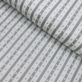 Ткань на отрез бязь плательная 150 см 477/17 Звезды на полосе цвет серый фото