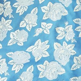 Ткань на отрез Тик 220 см 85 +/- 5 гр/м2 Розы цвет голубой фото