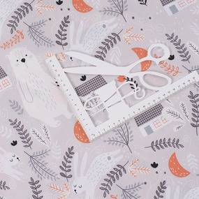 Ткань на отрез поплин детский 220 см 28317/1 Лесная сказка основа фото