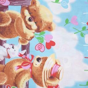 Детское постельное белье 1575 Мишка с зайкой 1.5 сп поплин фото