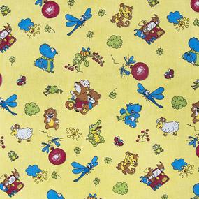 Бязь ГОСТ детская 150 см 383/4 Зоопарк цвет желтый фото