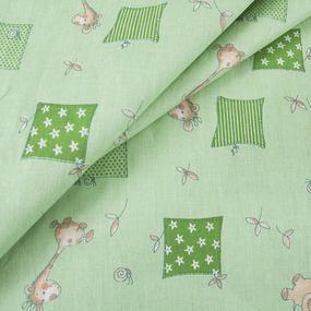 Бязь ГОСТ детская 150 см 366/2 Жирафики цвет зеленый фото