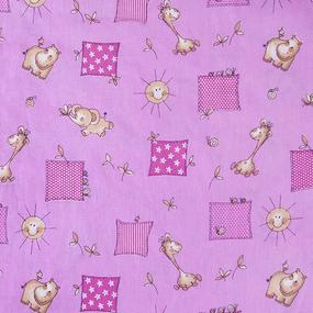 Бязь ГОСТ детская 150 см 366/3 Жирафики цвет розовый фото