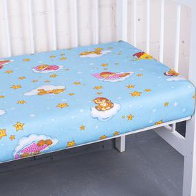 Простыня на резинке бязь детская 4098/2 Облачко цвет голубой 90/200/20 см фото