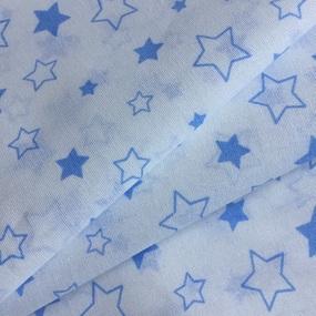 Ткань на отрез бязь 120 гр/м2 детская 150 см 7860 Звездочки б/з цвет голубой фото