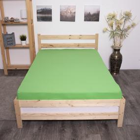 Простыня трикотажная на резинке Премиум М-2113 цвет зеленый 90/200/20 см фото