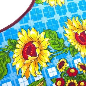 Фартук кухонный из вафельной ткани 4610/1 Подсолнухи синий фото