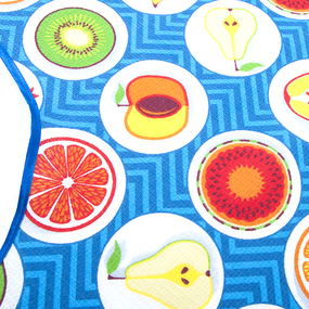 Фартук кухонный из вафельной ткани 477/1 Фрукты синий фото