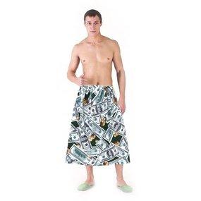 Вафельная накидка на резинке для бани и сауны мужская 5476/1 фото