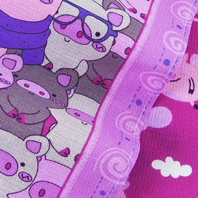 Набор вафельных полотенец 3 шт 50/60 см 1082/1 Поросята в облаках цвет сиреневый фото