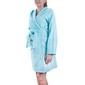 Халат женский махровый с капюшоном светло-бирюзовый р 52 фото