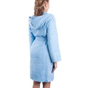 Халат женский махровый с капюшоном голубой р 44 фото