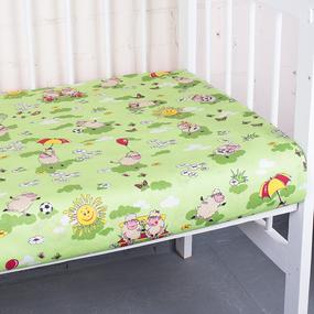 Простыня на резинке бязь детская 317/3 Овечки зеленый 60/120/12 см фото