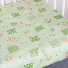 Простынь бязь детская 366/2 Жирафики цвет зеленый 110/150 см фото