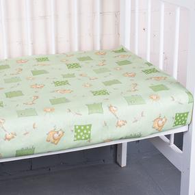 Простыня на резинке бязь детская 366/2 Жирафики цвет зеленый 60/120/12 см фото