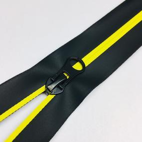 Молния спираль №7 разьем 18см водостойкая D504 желтый черная тесьма фото