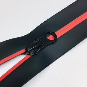 Молния спираль №7 два замка 90см водостойкая D519 красный черная тесьма фото