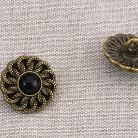 Пуговица металл ПМ88 17мм черный никель черный камень уп 12 шт фото