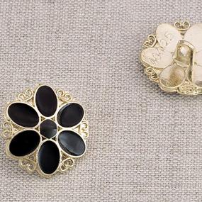 Пуговица металл ПМ89 19мм золото цветок черная эмаль уп 12 шт фото