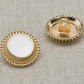 Пуговица металл ПМ9 18мм эмаль белая с золотым ободком уп 12 шт фото