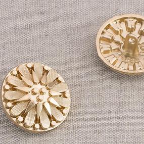 Пуговица металл ПМ91 24мм золото цветок уп 12 шт фото