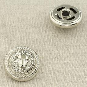 Пуговица металл ПМ92 22мм серебро лев уп 12 шт фото