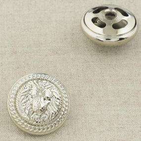 Пуговица металл ПМ92 26мм серебро лев уп 12 шт фото
