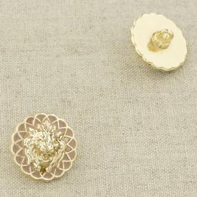 Пуговица металл ПМ94 18мм золото лев в цветке уп 12 шт фото