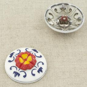 Пуговица металл ПМ95 30мм серебро белая с красным цветком керамика уп 12 шт фото