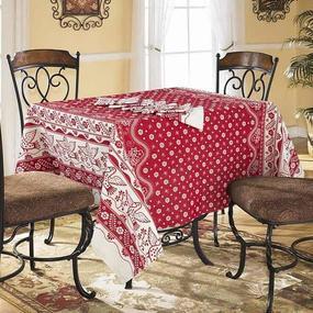 Столовый набор 4779/2 Птички бордовые скатерть полулен 150/150 + 6 салфеток фото